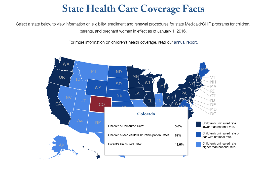 An image of the State Health Care Coverage Facts page with a colored map and details of an inset state's data