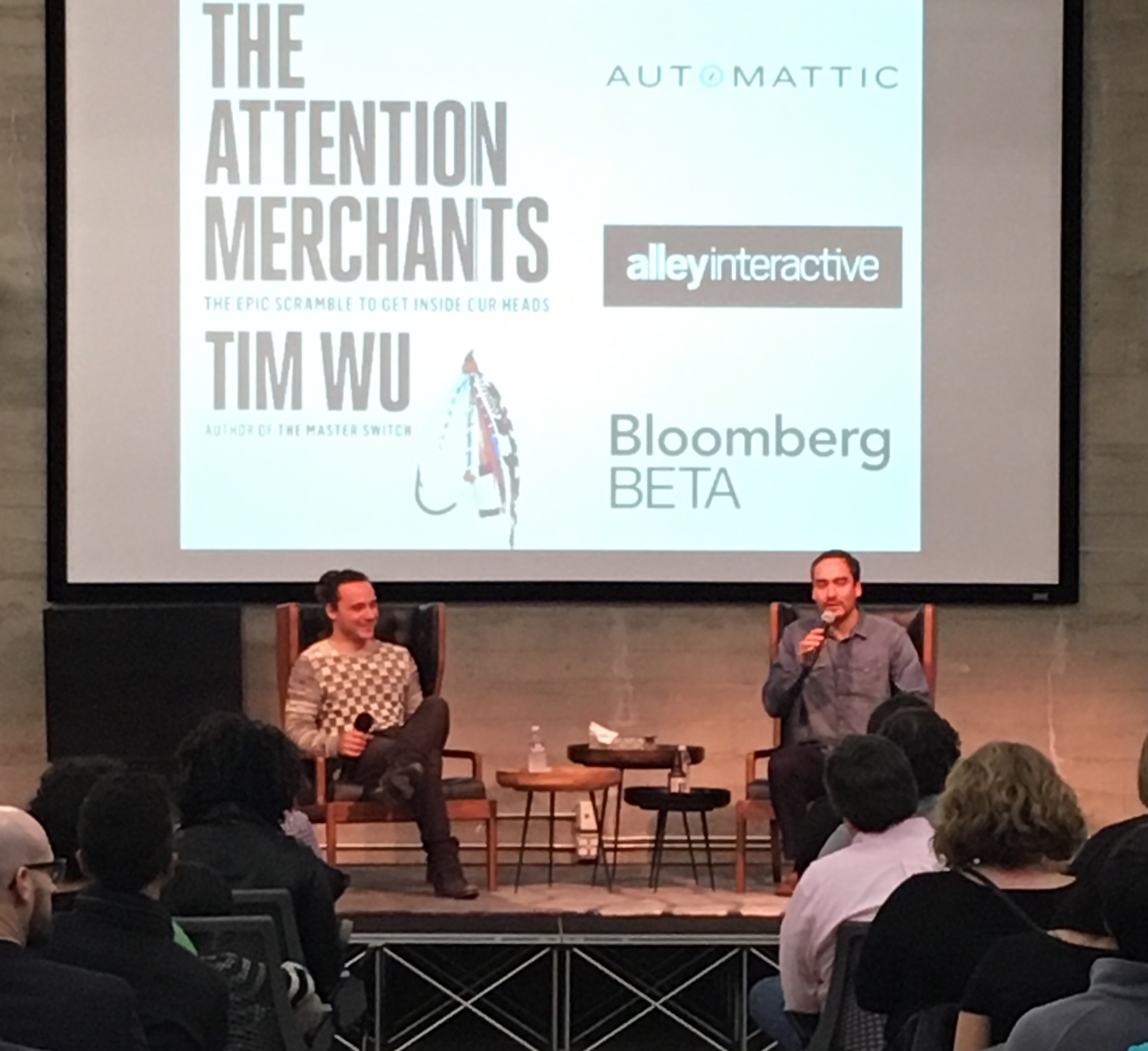 Y Combinator's Fred Beneson, left, interviews Columbia professor Tim Wu, right.